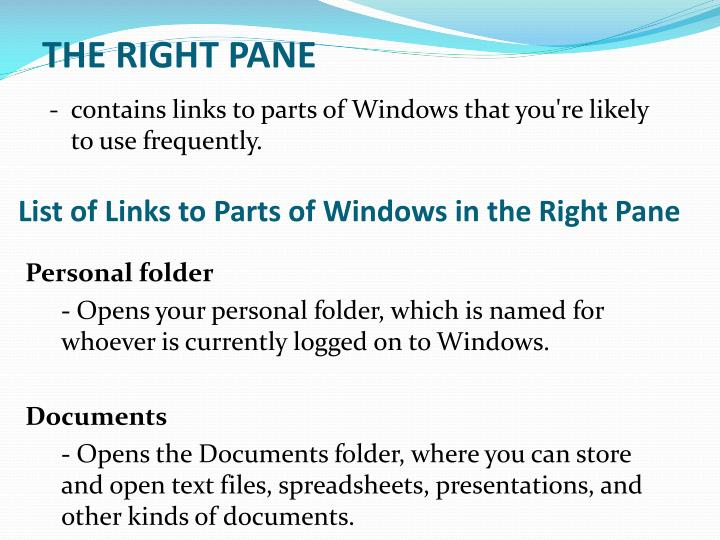 THE RIGHT PANE