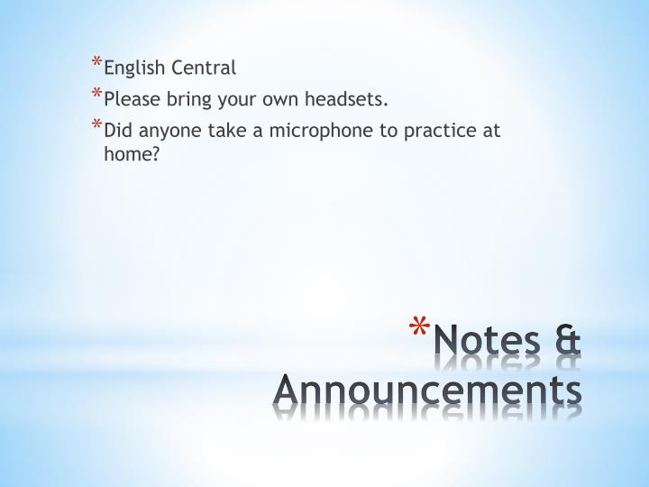 Notes announcements