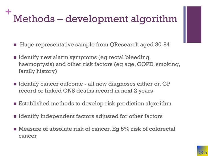 Methods – development algorithm