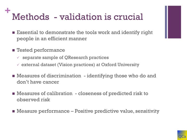 Methods  - validation is crucial