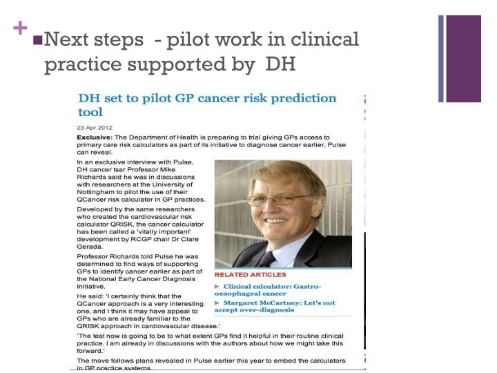 Next steps  - pilot work in clinical practice supported by  DH