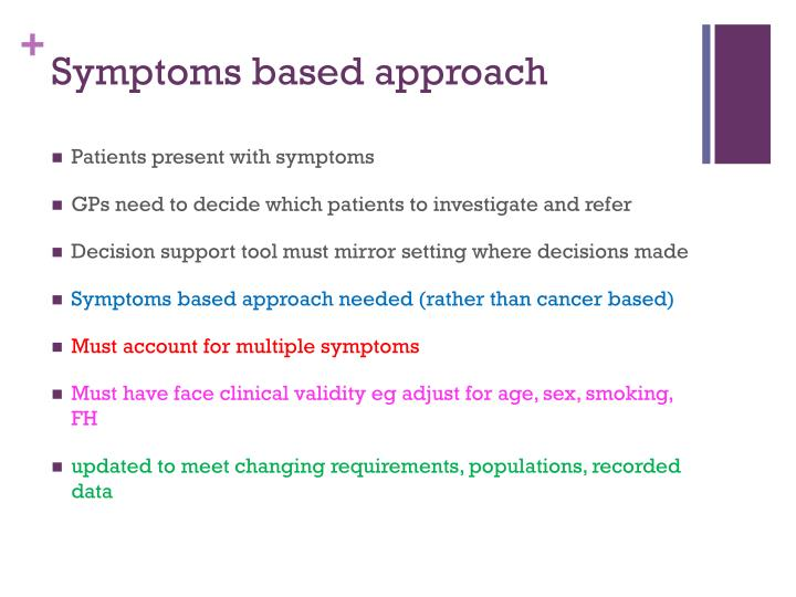 Symptoms based approach