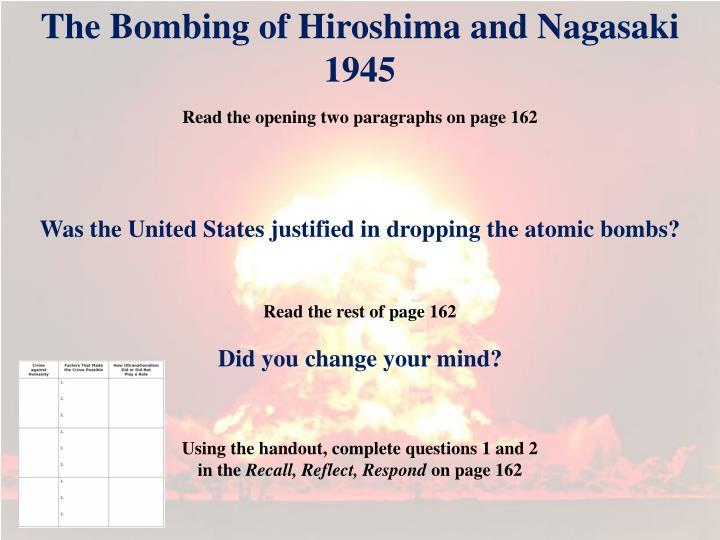 The Bombing of Hiroshima and Nagasaki 1945