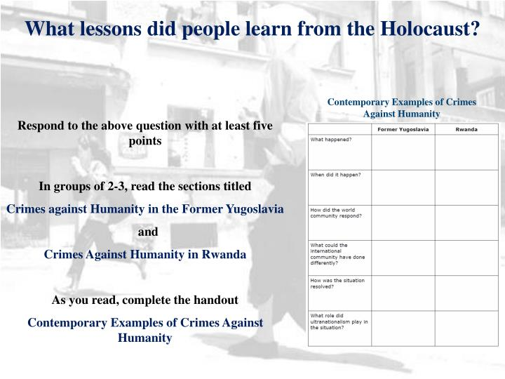 What lessons did people learn from the Holocaust?