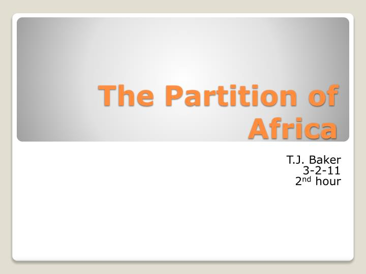 the partition of africa n.