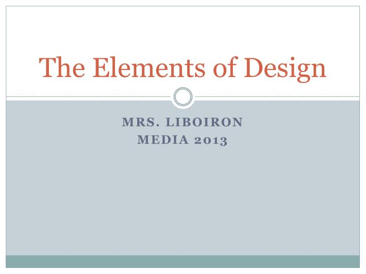 the elements of design n.