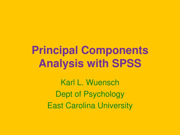 principal components analysis with spss n.