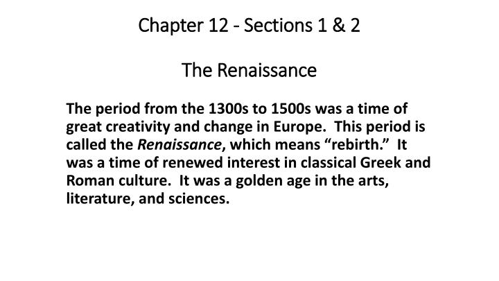 chapter 12 sections 1 2 the renaissance