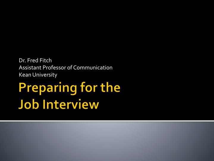 Dr fred fitch assistant professor of communication kean university