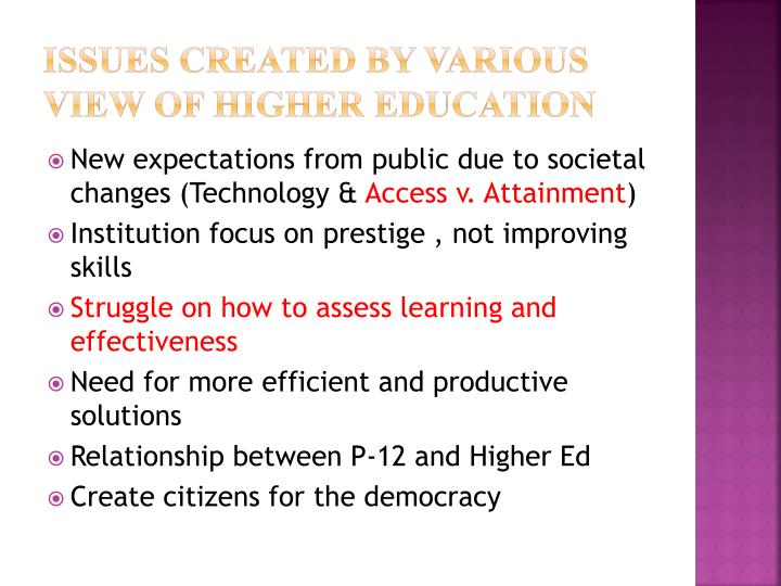 Issues Created by Various View Of Higher Education