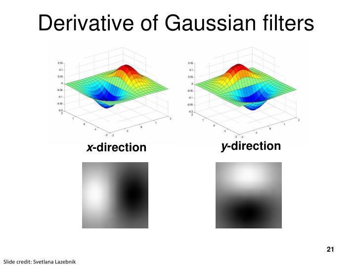 Derivative of Gaussian filters