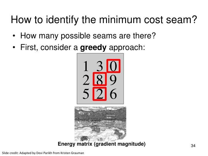 How to identify the minimum cost seam?