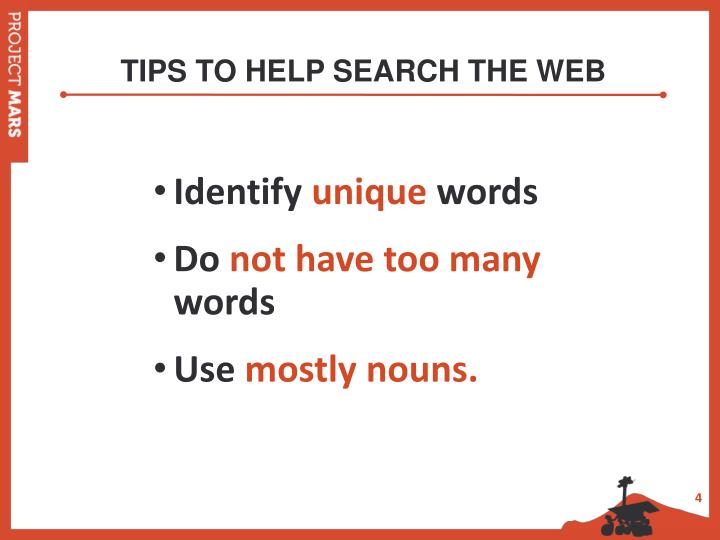 TIPS TO HELP SEARCH THE WEB