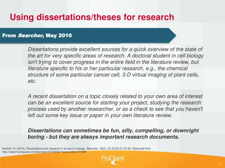 Using dissertations theses for research