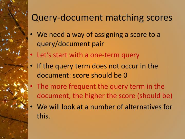 Query-document matching scores