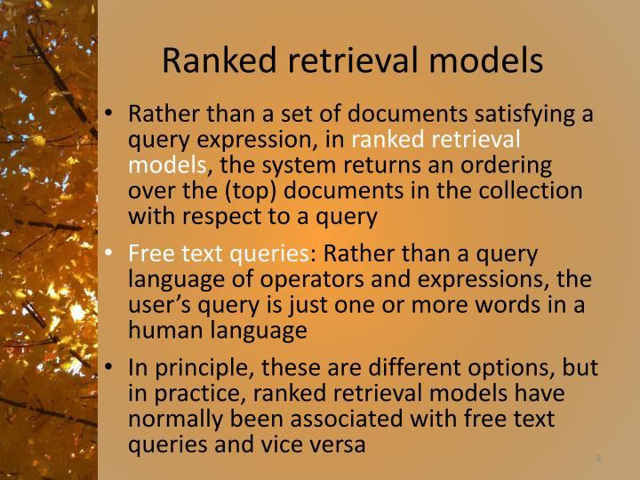 Ranked retrieval models