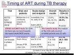 timing of art during tb therapy