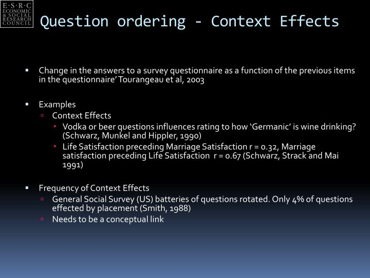 Question ordering context effects