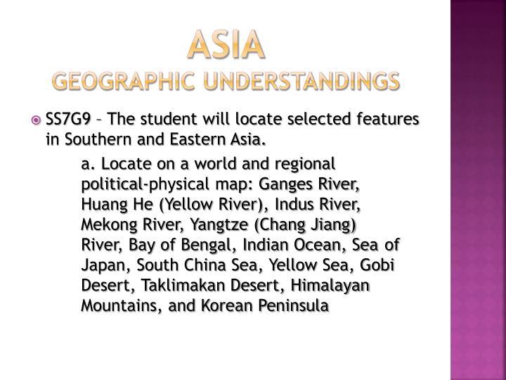 Asia geographic understandings