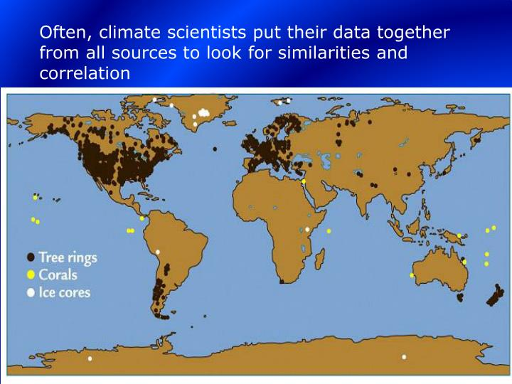 Often, climate scientists put their data together from all sources to look for similarities and correlation