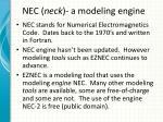 nec neck a modeling engine