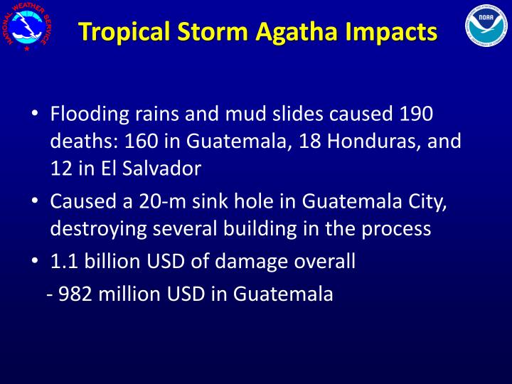 Tropical Storm Agatha Impacts