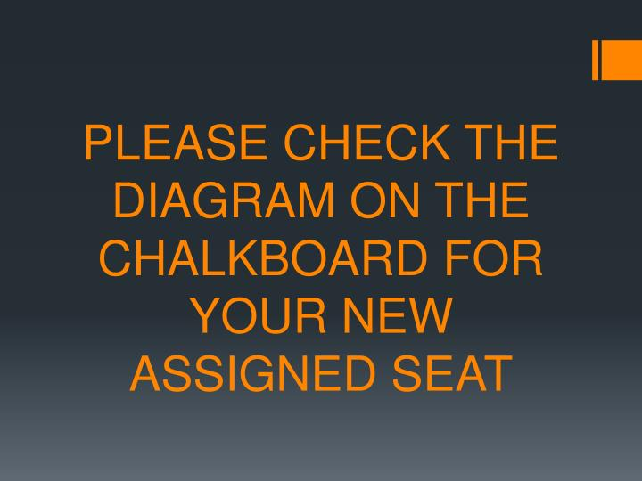please check the diagram on the chalkboard for your new assigned seat n.