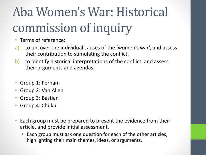 Aba Women's War: Historical commission of inquiry