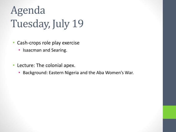 Agenda tuesday july 19