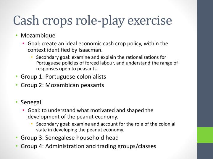 Cash crops role play exercise