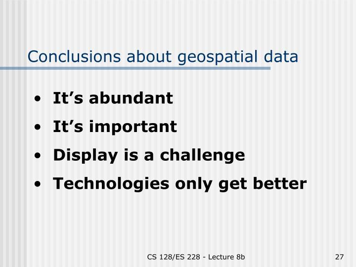 Conclusions about geospatial data