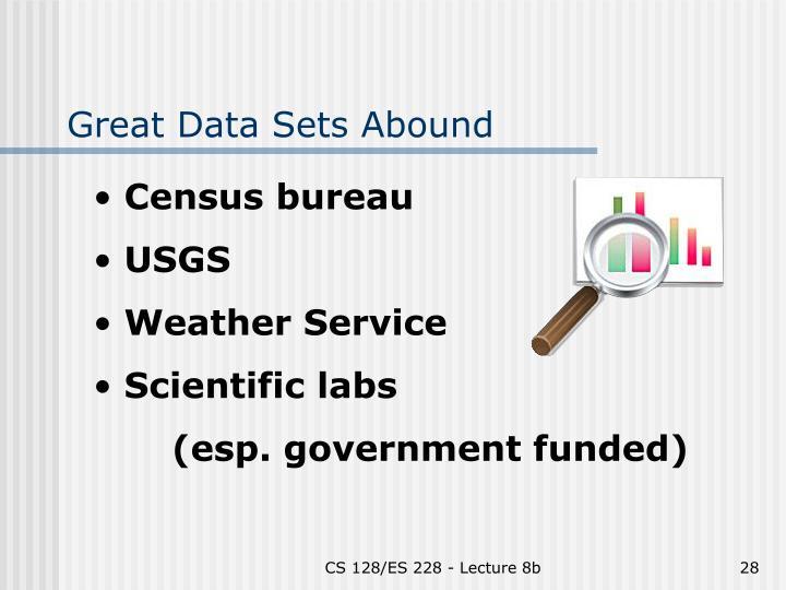 Great Data Sets Abound