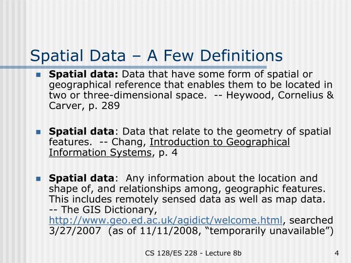 Spatial Data – A Few Definitions