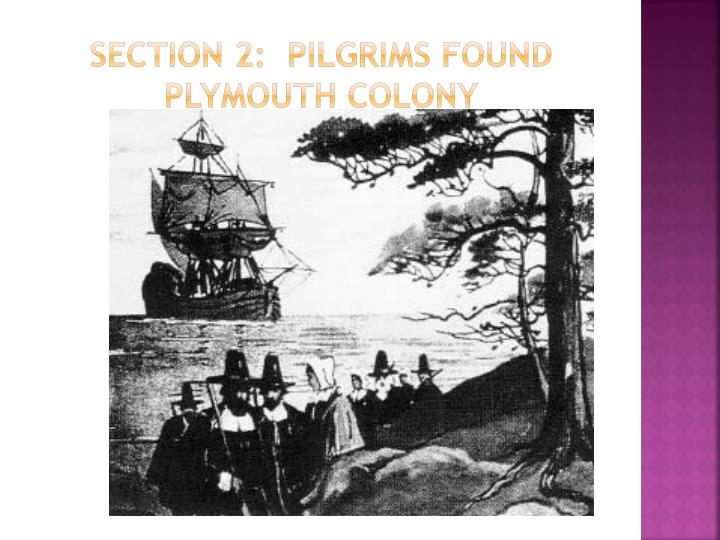 Section 2 pilgrims found plymouth colony