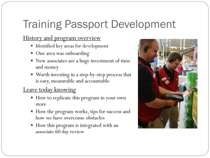 Training passport development