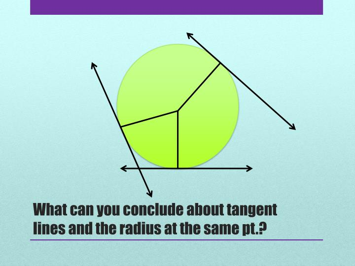 What can you conclude about tangent lines and the radius at the same pt.?