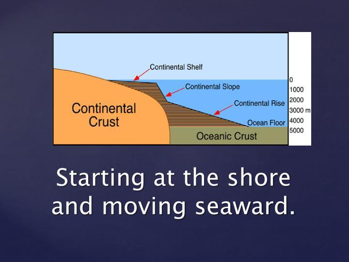 Starting at the shore     and moving seaward.