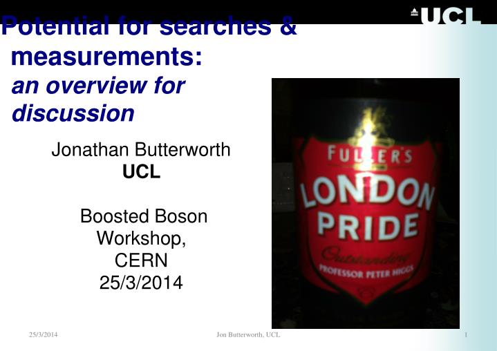 Potential for searches measurements an overview for discussion
