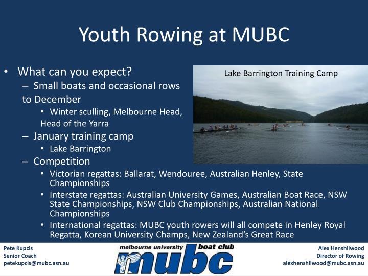 Youth rowing at mubc