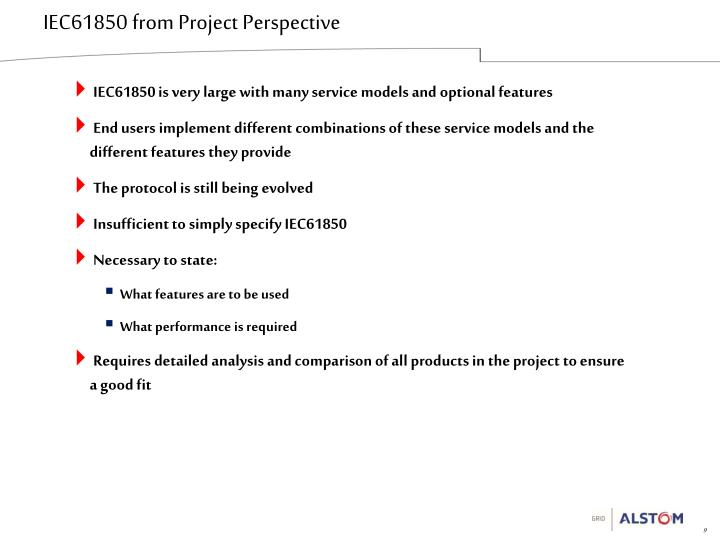 IEC61850 from Project Perspective