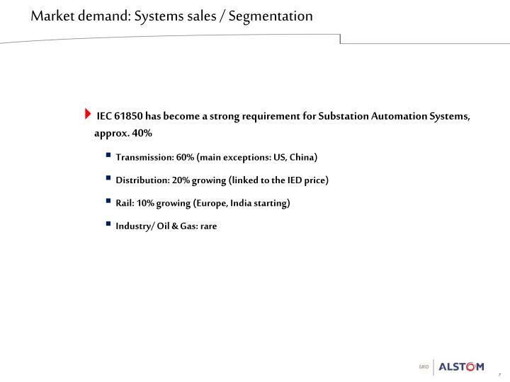 Market demand: Systems sales / Segmentation