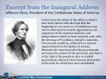 excerpt from the inaugural address jefferson davis president of the confederate states of america