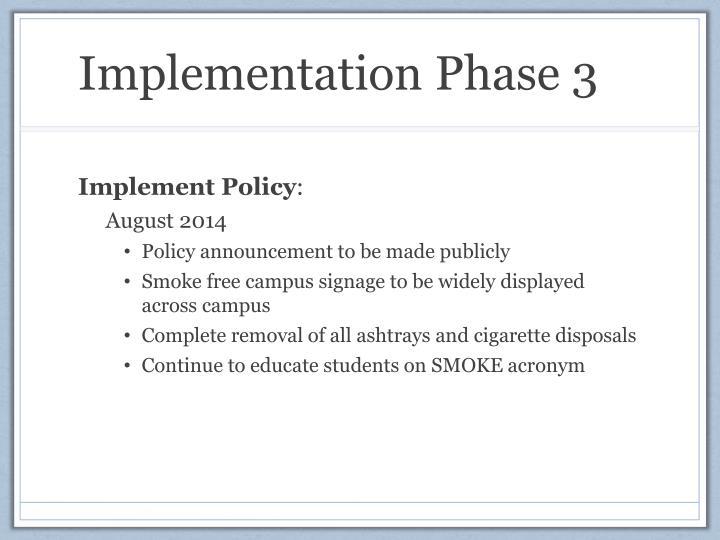 Implementation Phase 3