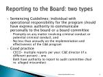 reporting to the board two types
