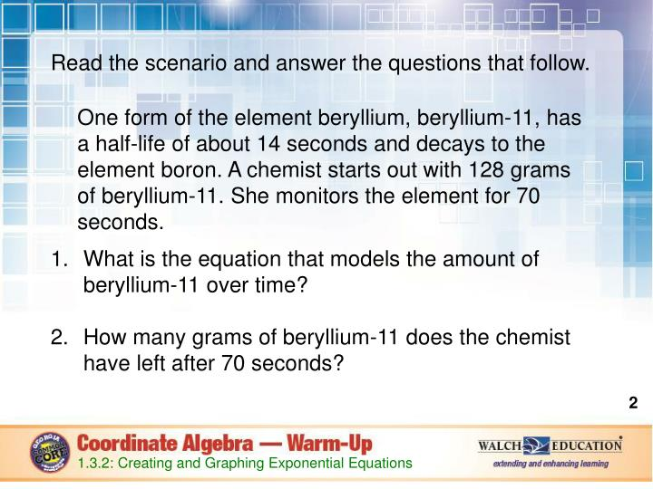 Read the scenario and answer the questions that follow.