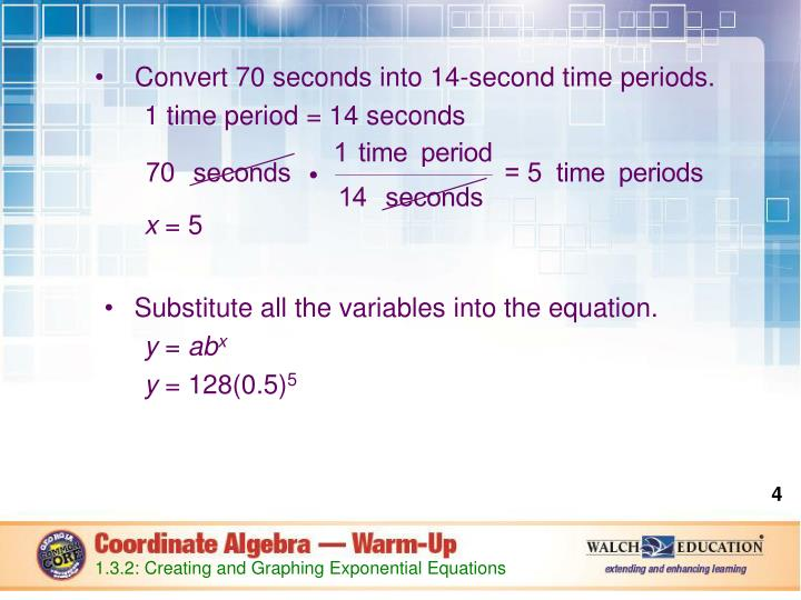 Convert 70 seconds into 14-second time periods.