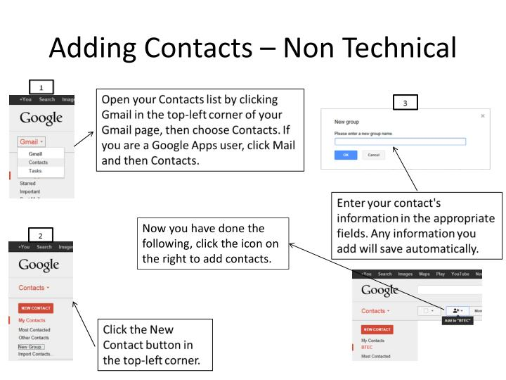 Adding Contacts – Non Technical