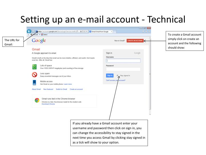 Setting up an e mail account technical
