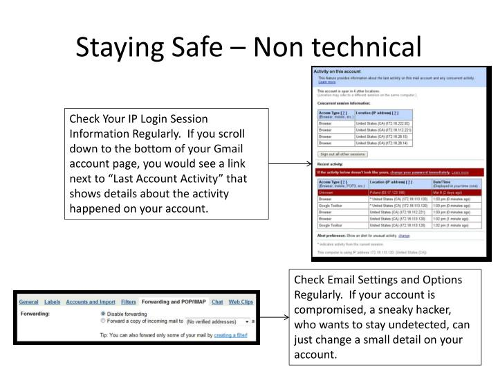 Staying Safe – Non technical