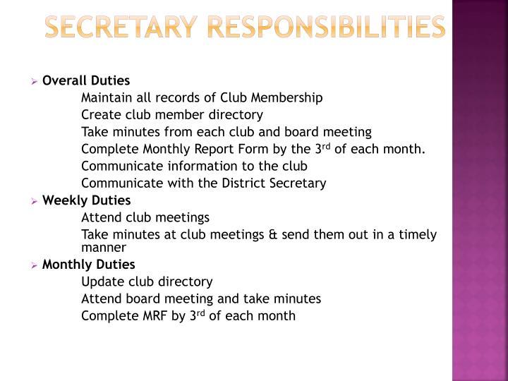 Secretary responsibilities